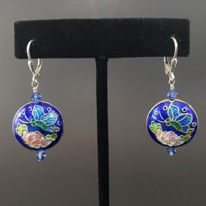 GORGEOUS Cobalt Blue Cloisonne Butterfly Earrings